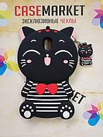 Объемный 3D силиконовый чехол для Samsung Galaxy J5 J530 (J5 2017) Кошечка черная морячка