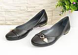Туфли женские кожаные черного цвета на низком ходу, фото 4