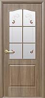 Дверное полотно Классик со стеклом сатин и рисунком (Ольха premium / ПВХ DeLuxe)