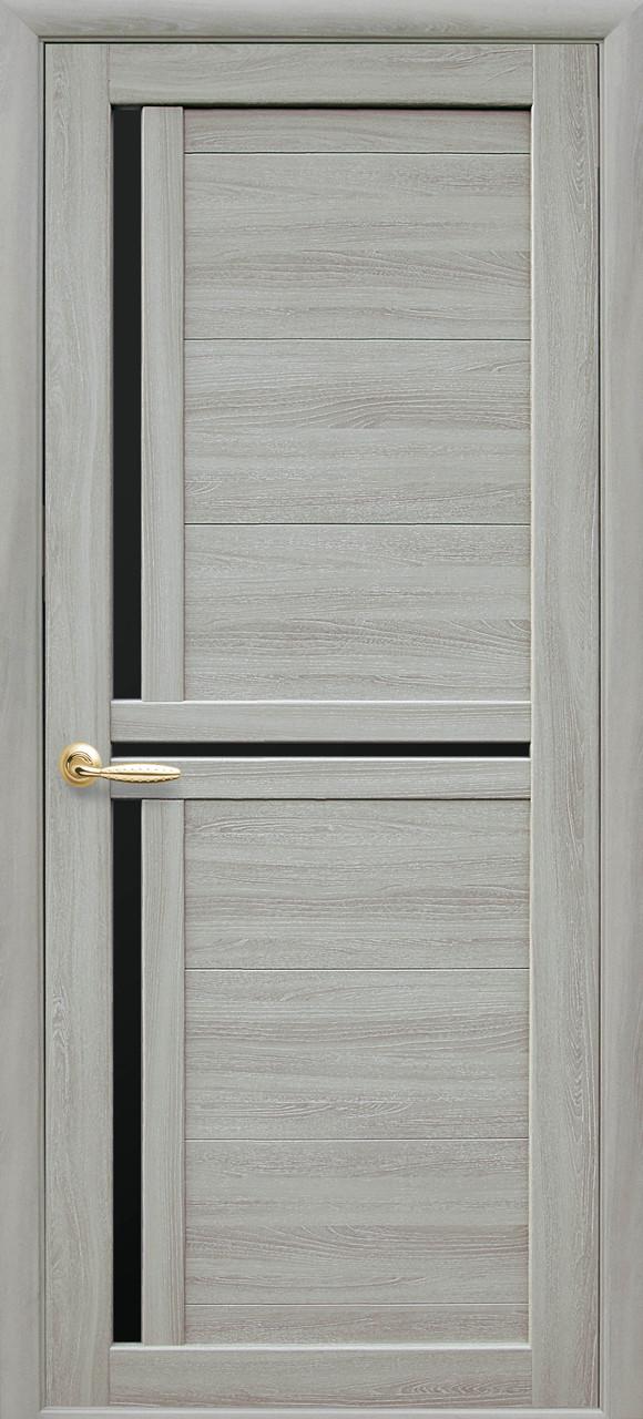 Дверное полотно Triniti с черным стеклом (Ясень патина / Экошпон)