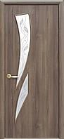 Дверное полотно Камея со стеклом сатин и рисунком (Золотая ольха / ПВХ DeLuxe)
