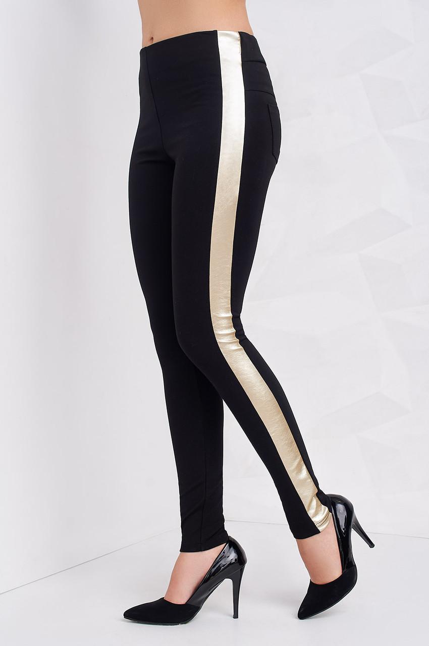 95cb8612e4800 Стильные черные лосины с золотистой вставкой по бокам - Оптово-розничный  магазин одежды