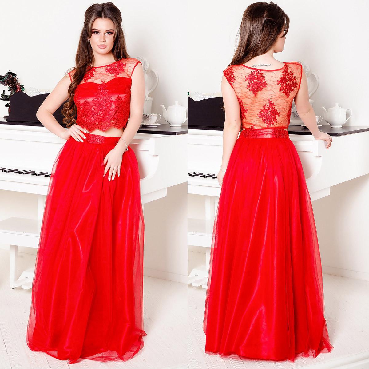 """Красное выпускное, вечернее платье в виде юбки с топом """"Беверли"""""""