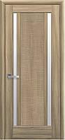 Дверное полотно Луиза со стеклом сатин (Золотой дуб / ПВХ DeLuxe)