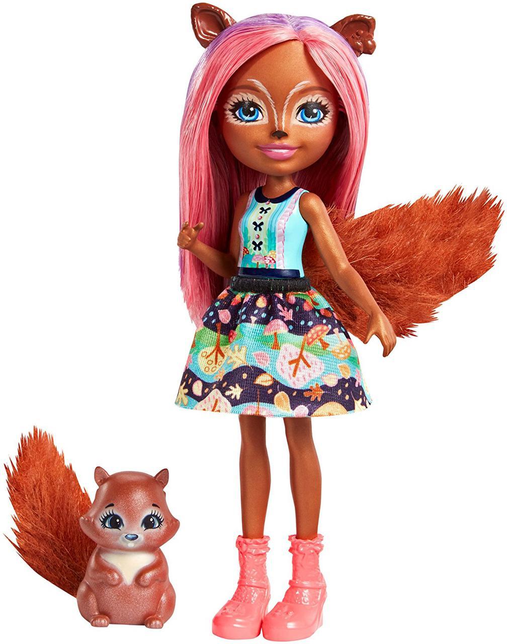 Кукла Энчантималс Белка Санча и бельченок Стампер / Enchantimals Sancha Squirrel Doll & Stumper