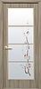 Дверное полотно Виктория со стеклом сатин и рисунком (Сандал / Экошпон)
