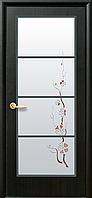 Дверное полотно Виктория со стеклом сатин и рисунком (Венге new / ПВХ DeLuxe)