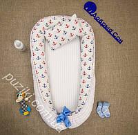 Позиционер двухсторонний для новорожденного с подушкой Якорь, позиционеры для малышей оптом