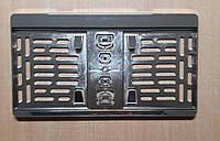 Рамка под американский, квадратный гос номер Хром Универсальная, 31 Х 16,5 см