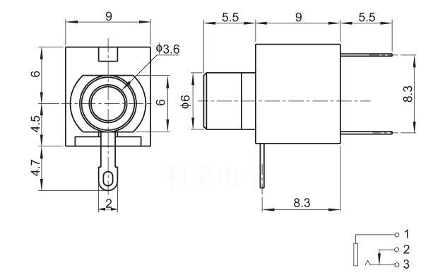 Разъем PJ-301M-3P