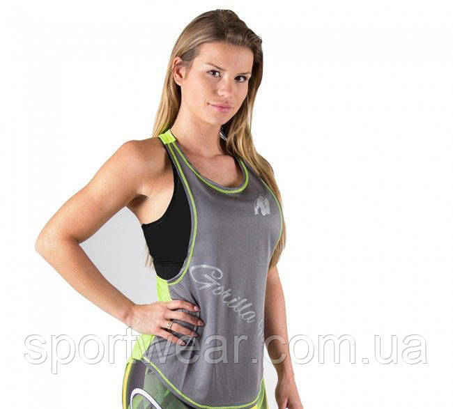 Майка для фитнеса Florida Stringer Tank Top Gray/Neon Lime, фото 1