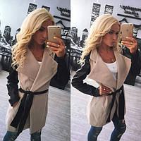 Женское пальто из кашемира с кожаными рукавами tez310210