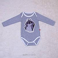 Детский боди Енот, серый, фото 1