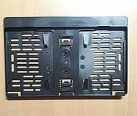 Рамка под американский, квадратный гос номер Черная Универсальная, 31 Х 17,4 см