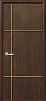 Дверное полотно Ника gold глухое с гравировкой Gold (Каштан / ПВХ DeLuxe)