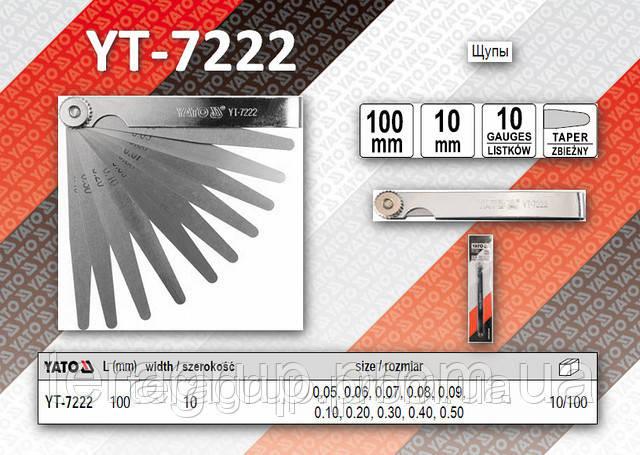 Щупы измерительные 100 х 10мм, 10 щупов, размер 0,05-0,50мм.,  YATO  YT-7222, фото 1