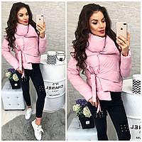 Женская красивая куртка ткань -плащевка с холофайбером Китай розовая