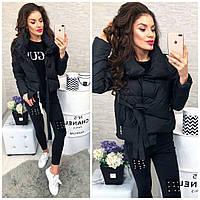 Женская красивая куртка ткань -плащевка с холофайбером Китай черная