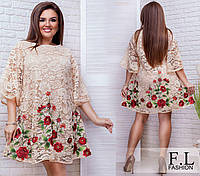 Платье с вышивкой батал