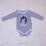 """Детский боди """"Енот"""" серый, 62, 68, 74 размер, фото 5"""