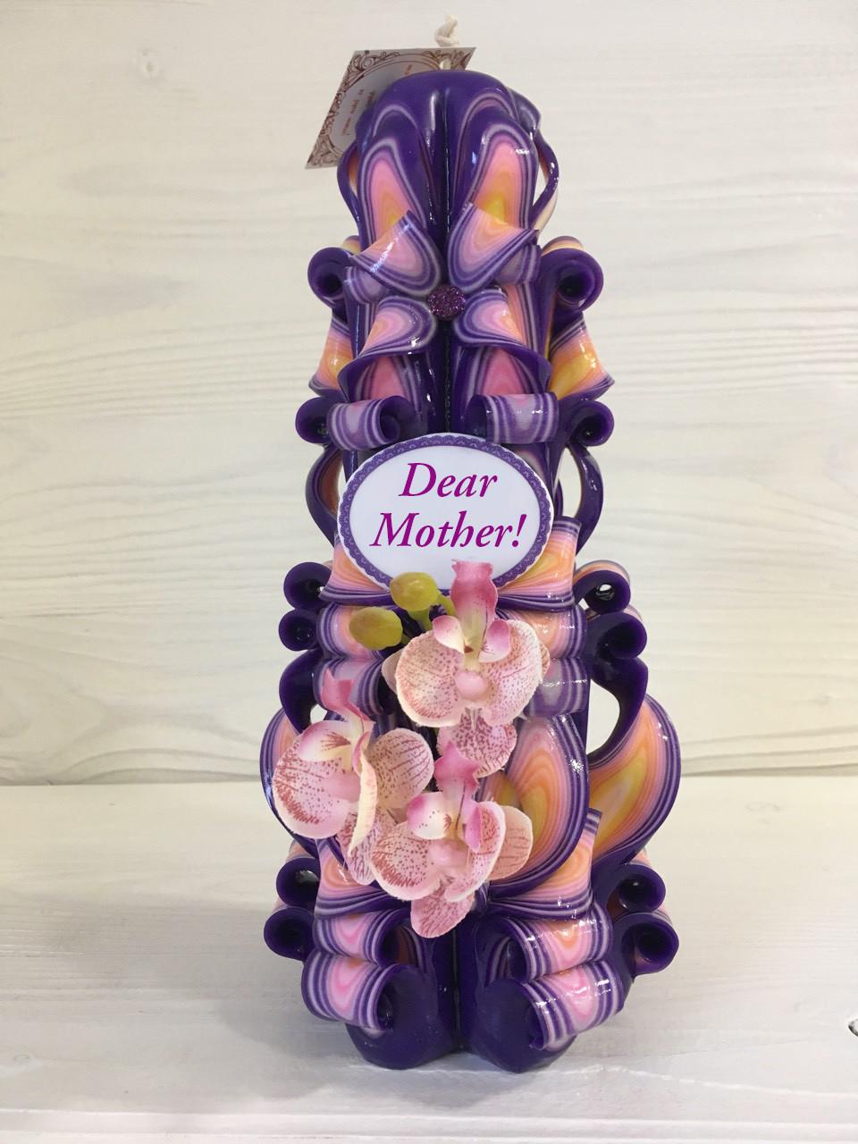 """Свеча """"Орхидея"""" на фиолетовой свече с надписью"""