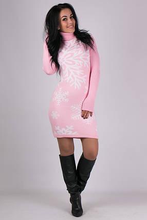 Платье гольф трикотажное Снежинка розовый-белый, фото 2
