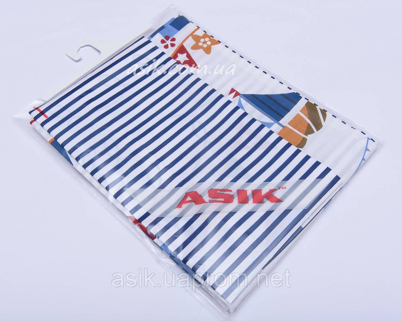 Наволочка та підковдра Asik Синя смужка і кораблики 2 предмета (2-004)