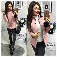 Женская красивая куртка ткань плащевка с холофайбером Китай цвет розовый