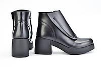 Ботильоны кожаные на каблуке черного цвета