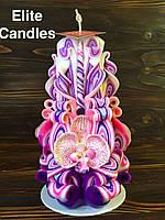 Різьблена свічка ручної роботи, висота 17 см з орхідеєю