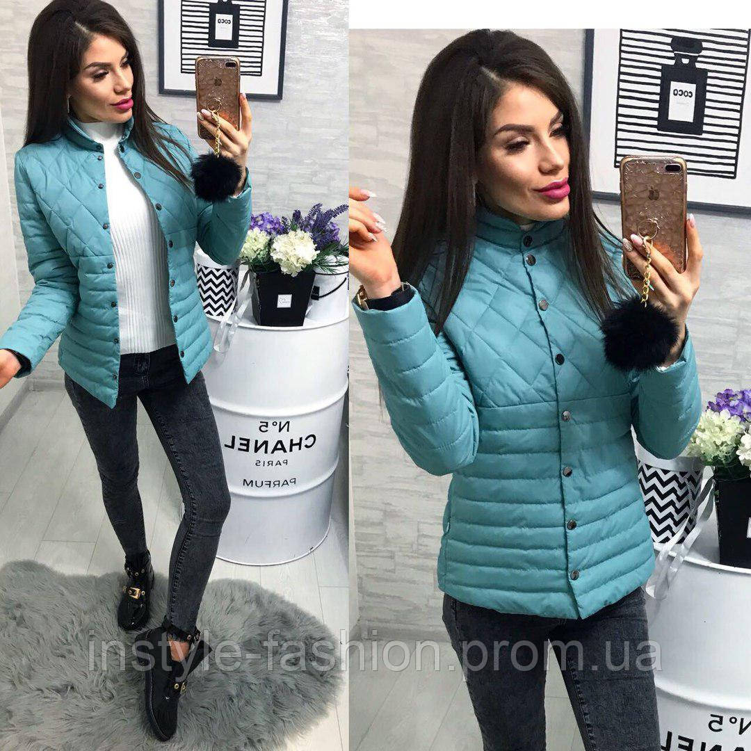 Женская красивая куртка ткань плащевка с холофайбером Китай цвет голубой