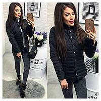 Женская красивая куртка ткань плащевка с холофайбером Китай цвет черный