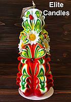 Весенняя резная свеча 22см высотой украшенная цветами