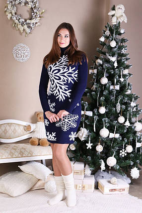 Трикотажна сукня Сніжинка (синій, білий), фото 2