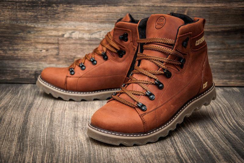 Кожаные мужские зимние ботинки CAT Caterpillar - Интернет магазин