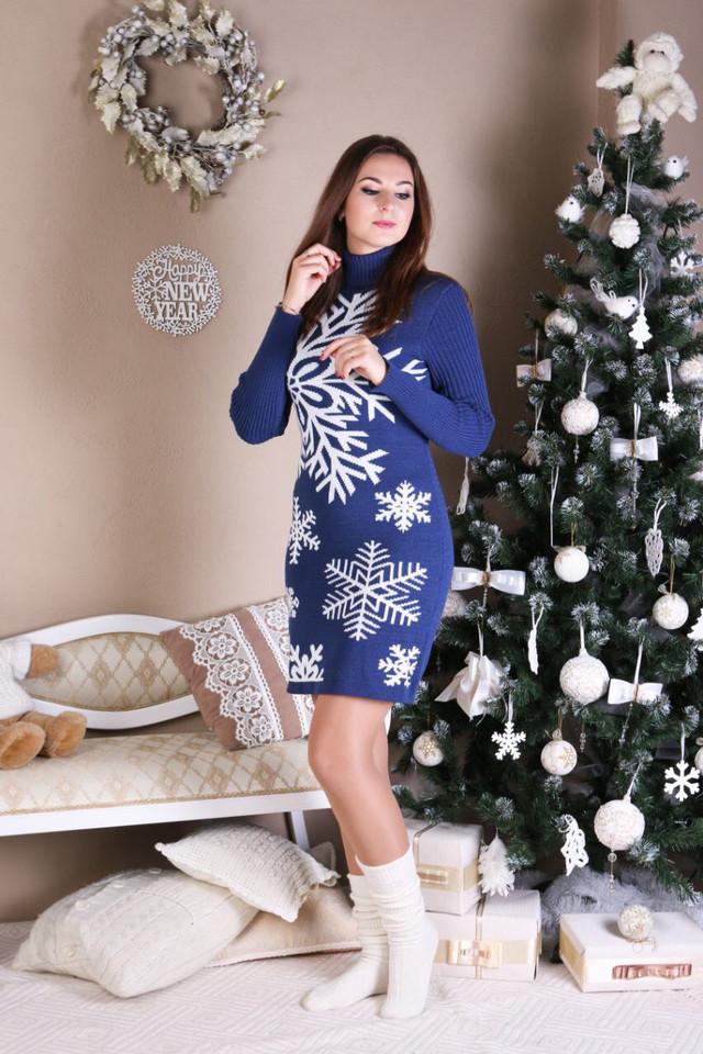 Платье трикотажное теплое Снежинка джинс-белый