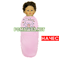 Теплая пелёнка-кокон европелёнка рост до 68 см на липучке для пеленания ткань ФУТЕР хлопок 3892 Для девочек, Розовый
