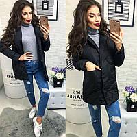 Женская куртка с карманами ткань плащевка наполнитель холофайбер Китай черная