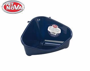 Угловой туалет для грызунов PetNova синий S