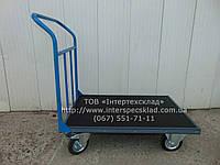 Тележка ручная платформенная с резиновым покрытием и окантовкой резиновым уголком 800х500мм (Цена без НДС)