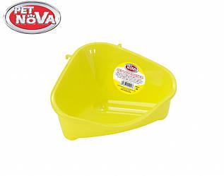 Угловой туалет для грызунов Pet Nova желтый S