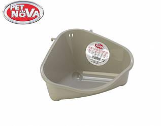 Угловой туалет для грызунов PetNova серый S