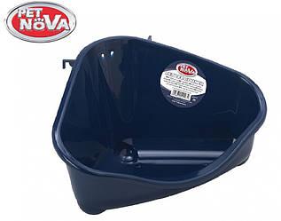 Угловой туалет для грызунов Pet Nova синий M