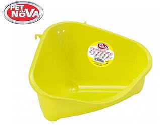 Угловой туалет для грызунов Pet Nova желтый M