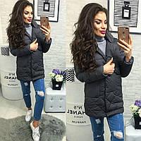 Женская куртка с карманами ткань плащевка наполнитель холофайбер Китай серая