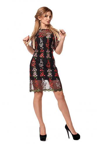 45f0690c49f Вечернее платье черное с вышитой сеткой от оптово-розничного магазина  одежды