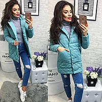 Женская куртка с карманами ткань плащевка наполнитель холофайбер Китай голубая