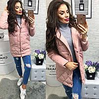 Женская куртка с карманами ткань плащевка наполнитель холофайбер Китай розовая