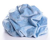 Плюшевая ткань голубого цвета со звёздами