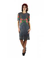 Жіноче плаття з вишивкою Троянди в сірому кольорі c67125c3f5e33